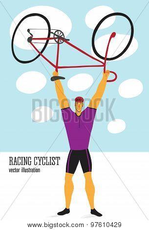 Cartoon Racing Cyclist
