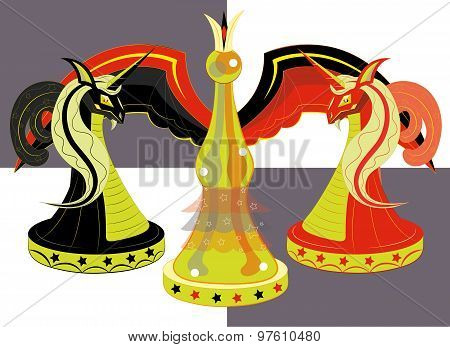 Chessboard with chessmen, two horses red and black and the queen