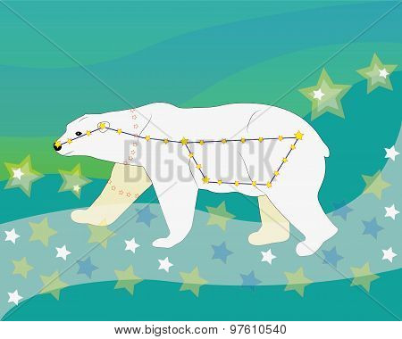 The constellation of the Big Dipper, a polar bear goes on the Milky Way