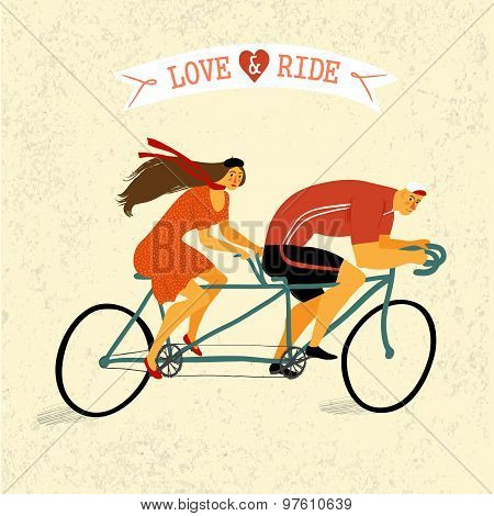 Tandem Cyclists Vintage Illustration