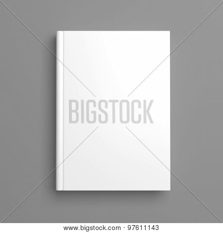 White Blank Book Cover Isolated On grey