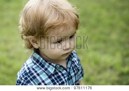 Boy Child On Green Grass