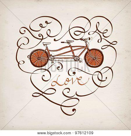 Calligraphic Vintage Bicycle Postcard