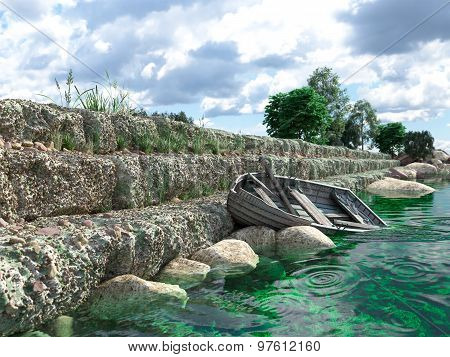 Breakwater with gates and old fishing boat concept background