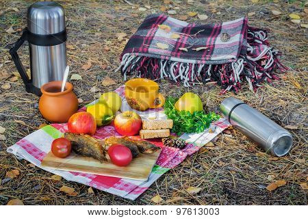 Products And A Picnic Blanket In The Woods