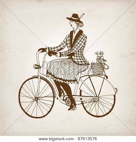 Retro Lady Cyclist Vector Illustration