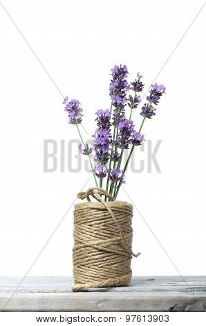 Bouquet Of Purple Lavenders Against Wooden Background