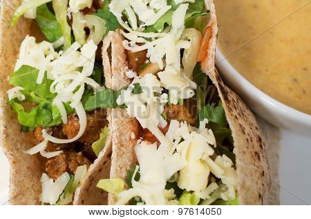 Stuffed Pita With Meat, Cheese And Vegetables