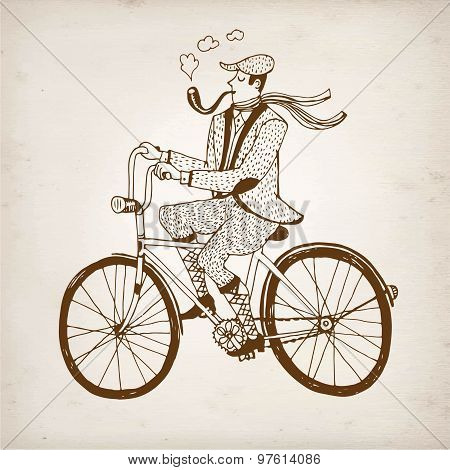 Retro Cyclist Vector Illustration