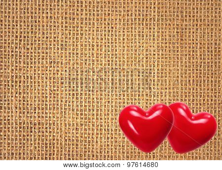 Linen Texture Background With Two Red Hearts