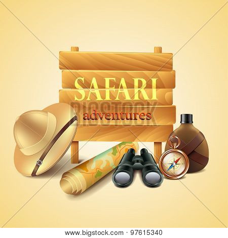 Safari Travel Accessories Vector Background