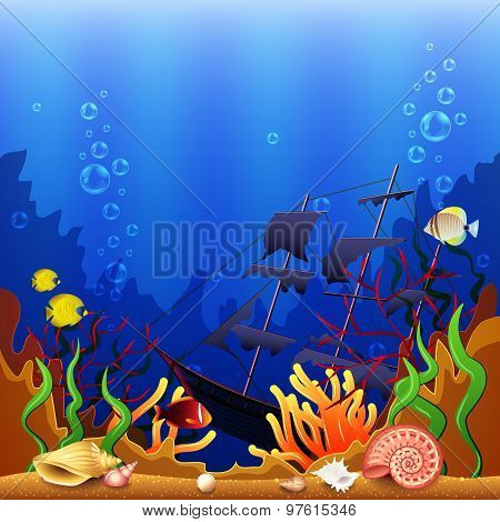 Sunken Ship Underwater Background Vector