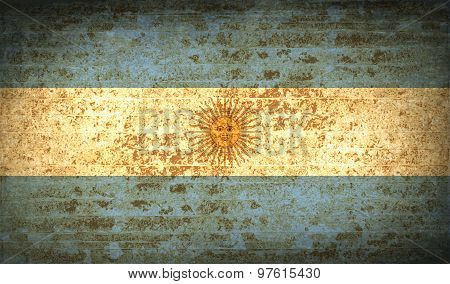 Flags Of Argentina With Dirty Paper Texture. Vector