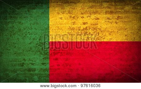 Flags Benin With Dirty Paper Texture. Vector