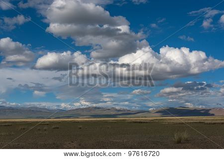Mountains Steppe Sky Clouds