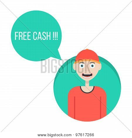 guy in red baseball cap with free cash green speech bubble
