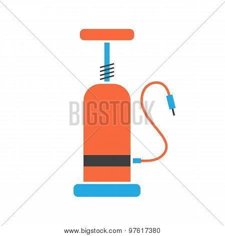 orange and blue bicycle pump icon