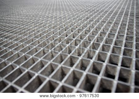 Perspective Of Grey Galvanized Steel Grate Grid