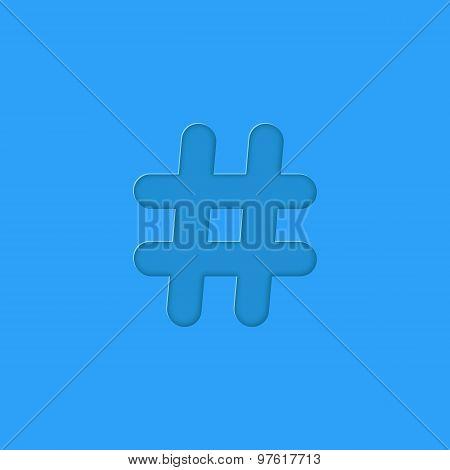 hashtag embossed on blue background