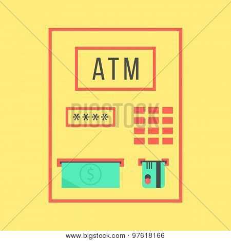 simple atm template isolated on yellow background