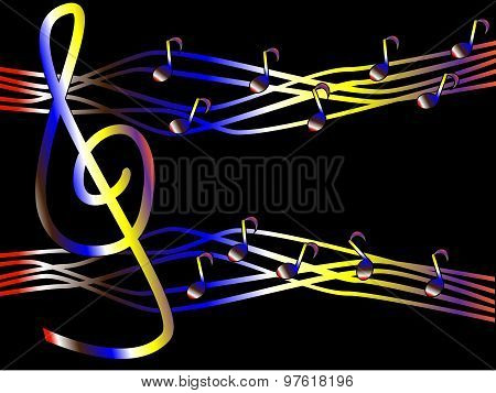 Colorful music in the form of treble clef and notes