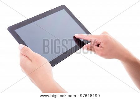 Hands Using Tablet Pc With Blank Screen Isolated On White