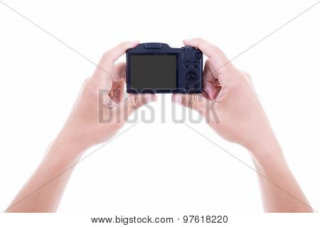 Male Hands Holding Digital Camera With Blank Screen Isolated On White