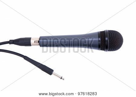 Black Microphone With Cord Isolated On White