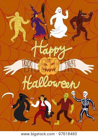 Cartoon Halloween Characters.