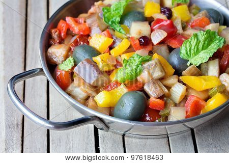 Cooked Vegetable Salad Made From Chopped Fried Eggplant. Traditional Sicilian Dish.