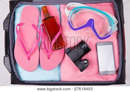 Summer Concept - Suitcase Full Of Vacation Items