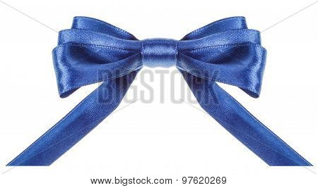 Symmetrical Blue Bow With Horizontal Cut Ends