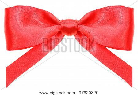 Symmetric Red Ribbon Bow With Vertically Cut Ends