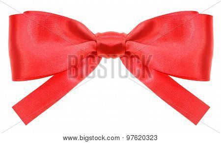 Symmetrical Red Ribbon Bow With Square Cut Ends