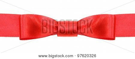 Symmetric Red Bow Knot On Wide Satin Ribbon
