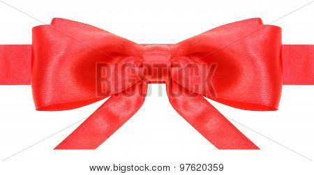 Symmetric Red Bow With Horizontal Ends On Ribbon