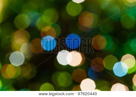 Dark Green Blurred Shimmering Christmas Lights