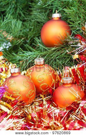 Orange Christmas Balls, Red Tinsel On Xmas Tree 1