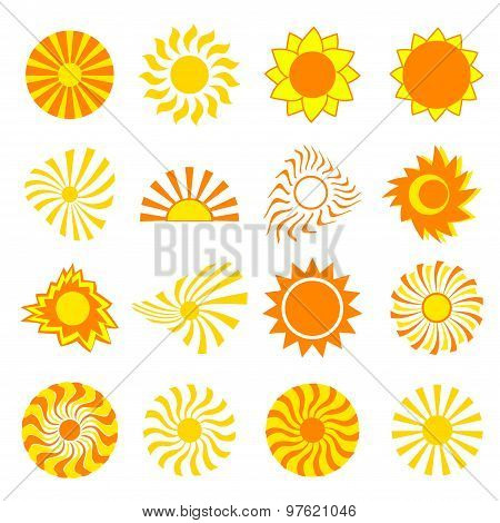 Set Of Stylized Sun Over White