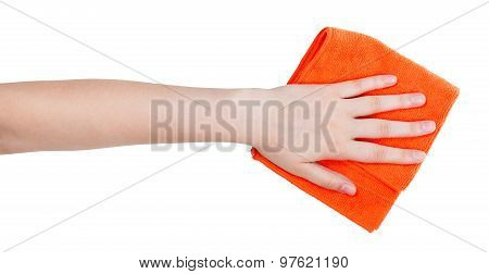 Hand With Orange Cleaning Rag Isolated On White
