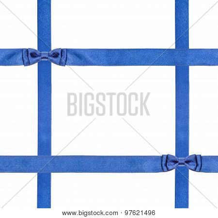 Blue Satin Bows And Ribbons Isolated - Set 19