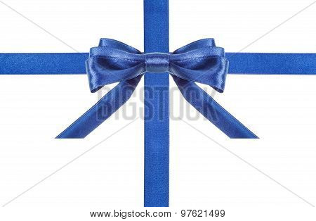 Blue Satin Bows And Ribbons Isolated - Set 1