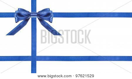Blue Satin Bows And Ribbons Isolated - Set 25