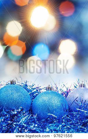 Xmas Blue Decoration On Blurred Blue Background