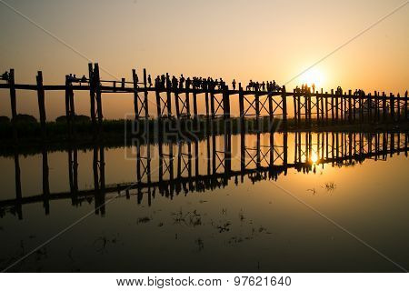 Beautiful sunset in U-Bein bridge