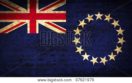 Flags Cook Islands With Dirty Paper Texture. Vector