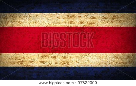 Flags Costa Rica With Dirty Paper Texture. Vector