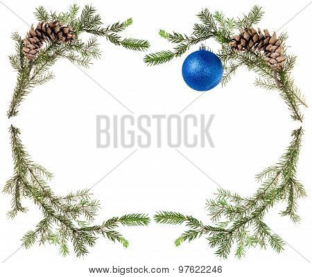 Fir Tree Branches With Cones And Blue Ball