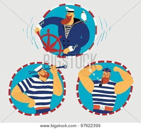 Cartoon Sailors Set