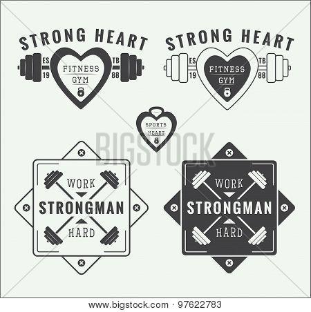 Set of vintage gym logos, labels and emblems